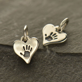 A1537   -SV-CHRM Tiny Sterling Silver Hand Print Charm - Heart Shape