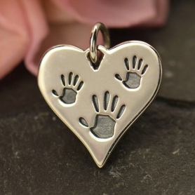 A1538   -SV-CHRM Sterling Silver Heart Charm with Three Etched Hand Prints