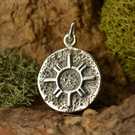 A1545   -SV-CHRM Sterling Silver Amulet Charm - Zia Sun