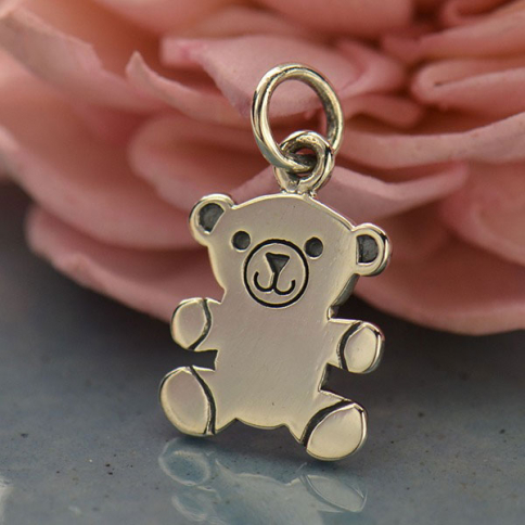 A1555   -SV-CHRM Sterling Silver Teddy Bear Charm - Animal Charm - Flat