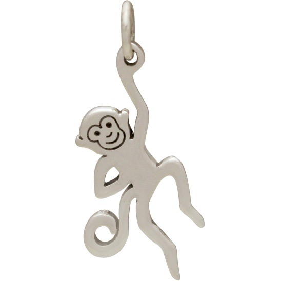 Sterling Silver Monkey Charm - Animal Charm - Flat