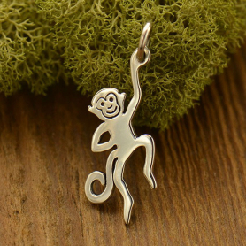 A1556   -SV-CHRM Sterling Silver Monkey Charm - Animal Charm - Flat