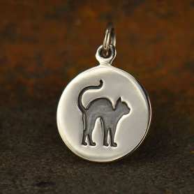 A1559   -SV-CHRM Sterling Silver Cat Charm - Halloween Charm