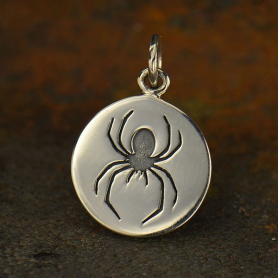 A1560   -SV-CHRM Sterling Silver Spider Charm - Etched Disc DISCONTINUED