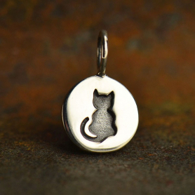 A1561   -SV-CHRM Sterling Silver Cat Charm - Etched Small Disk