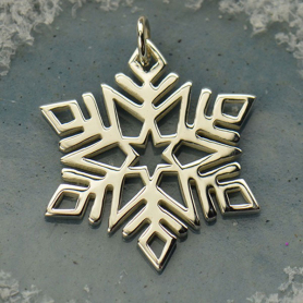 A1572   -SV-CHRM Sterling Silver Snowflake Charm - Christmas Charms - Large