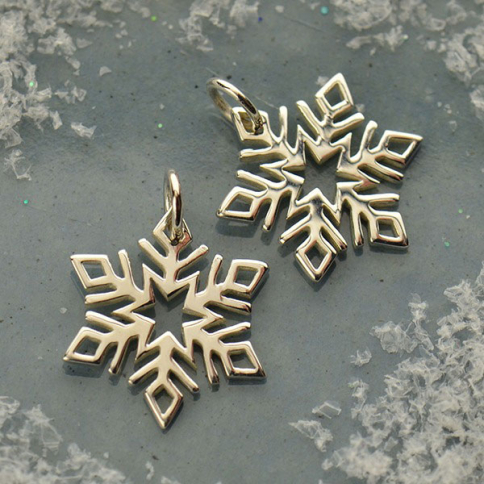 A1573   -SV-CHRM Sterling Silver Snowflake Charm - Christmas Charms - Small