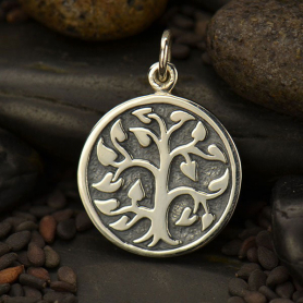 A1576   -SV-CHRM Sterling Silver Tree of Life Charm - Etched on Round Charm