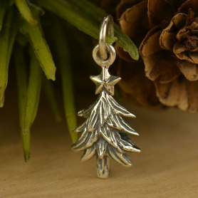 A1578   -SV-CHRM Sterling Silver Christmas Tree Charm - Textured