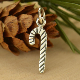 A1581   -SV-CHRM Silver Candy Cane Charm - Christmas Charms DISCONTINUED