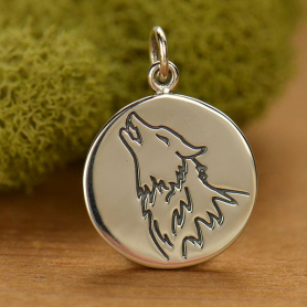 A1588   -SV-CHRM Sterling Silver Wolf Charm - Spirit Animal