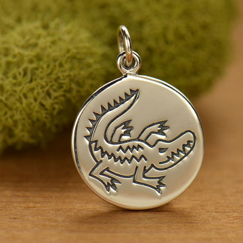 A1591   -SV-CHRM Sterling Silver Crocodile Charm - Spirit Animal DISCONTINUED
