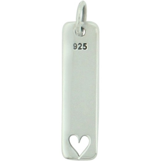 Sterling Silver Word Charm - Love - Vertical w Heart Cutout