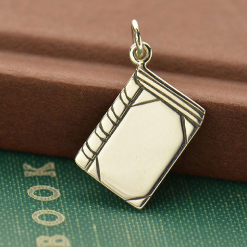 A1609   -SV-CHRM Sterling Silver Book Charm - Flat