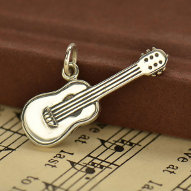 A1611   -SV-CHRM Sterling Silver Guitar Charm - 3D