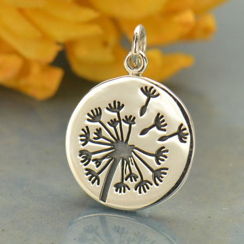 A1620   -SV-CHRM Sterling Silver Dandelion Charm - Flower Charm - Large