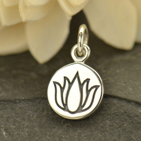 A1630   -SV-CHRM Sterling Silver Small Round Circle with Etched Lotus