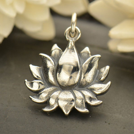 A1634   -SV-CHRM Sterling Silver Blooming Lotus Charm - Textured - Large