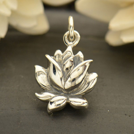 A1635   -SV-CHRM Sterling Silver Blooming Lotus Charm - Textured - Medium