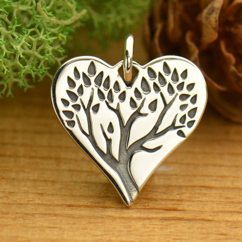 A1639   -SV-CHRM Sterling Silver Tree of Life Charm on Heart