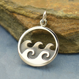 A1640   -SV-CHRM Sterling Silver Ocean Waves Pendant