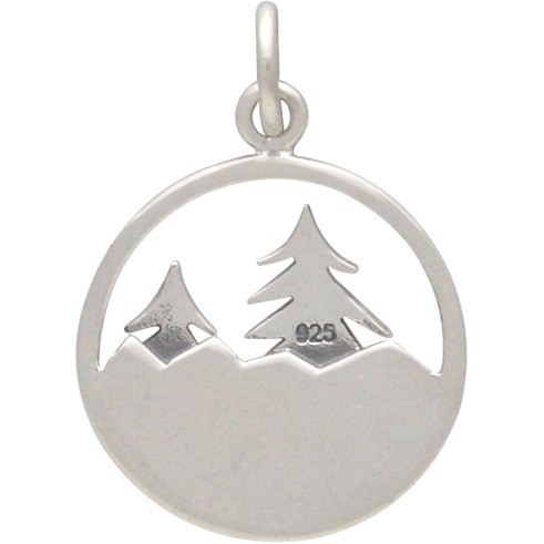Sterling Silver Tree Pendant with Mountains- Openwork