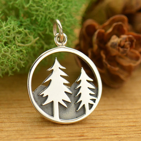 A1641   -SV-CHRM Sterling Silver Tree Pendant with Mountains- Openwork