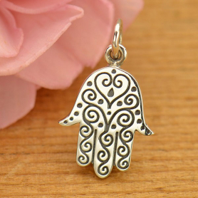 A1667   -SV-CHRM Sterling Silver Hamsa Hand Charm with Etched Swirl Pattern
