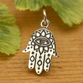 A1672   -SV-CHRM Sterling Silver Hamsa Hand with Etched Evil Eye