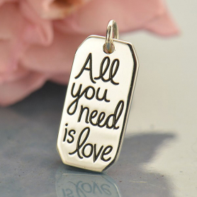 A1687   -SV-CHRM Silver Word Charm - All You Need is Love DISCONTINUED
