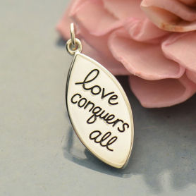 A1688   -SV-CHRM Sterling Silver Word Charm - Love Conquers All DISCONTINUED