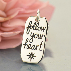 A1689   -SV-CHRM Sterling Silver Word Charm - Follow Your Heart