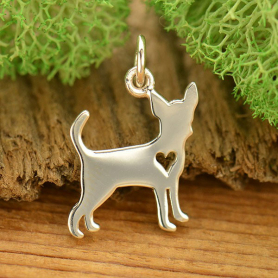 A1695   -SV-CHRM Sterling Silver Dog Charm - Chihuahua with Heart