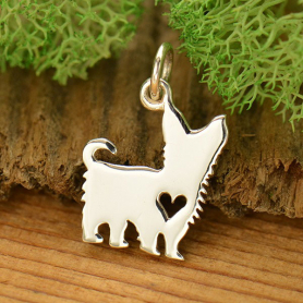 A1697   -SV-CHRM Sterling Silver Dog Charm - Yorkshire Terrier with Heart