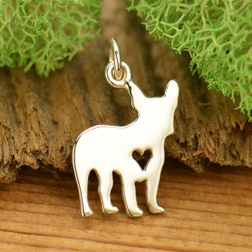 A1699   -SV-CHRM Sterling Silver Dog Charm - French Bulldog with Heart