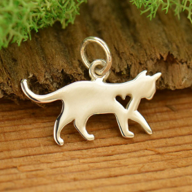 A1701   -SV-CHRM Sterling Silver Cat Charm with Heart Cutout - Pet Charm