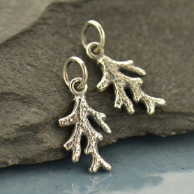 A1741   -SV-CHRM Sterling Silver Tiny Coral Branch Charm