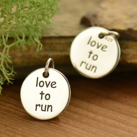 A1752   -SV-CHRM Silver Love to Run Fitness Jewelry Charm DISCONTINUED