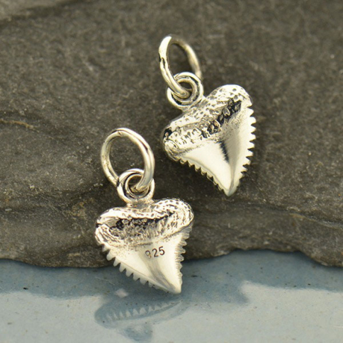 A1756   -SV-CHRM Tiny Sterling Silver Shark Tooth Charm