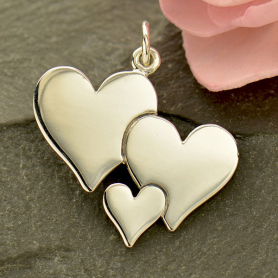 A1792   -SV-CHRM Sterling Silver Three Heart Charm - Family Charms