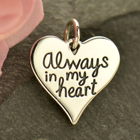 A1799   -SV-CHRM Silver Message Pendant - Always in My Heart