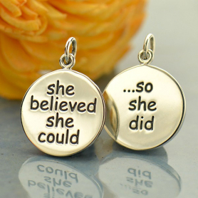 A1803   -SV-CHRM Silver Message Pendant - She Believed She Could So She Did