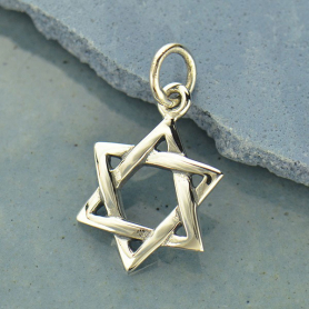 A1815   -SV-CHRM Sterling Silver Star of David Pendant - Faith Pendant