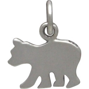 "Sterling Silver Baby Bear Charm - Etched ""Baby Bear"""