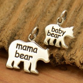 A1840   -SV-CHRM Sterling Silver Mama Bear and Baby Bear - Etched Set
