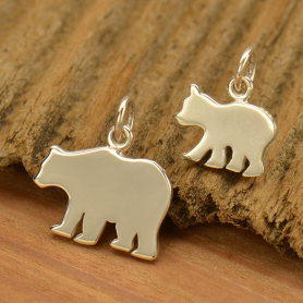 A1842   -SV-CHRM Sterling Silver Mama Bear and Baby Bear - Stamping Blank Set