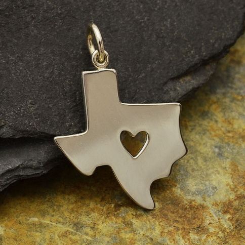 A1859   -SV-CHRM Sterling Silver Texas Charm with Heart Cutout -23mm
