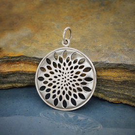 A1862   -SV-CHRM Sterling Silver Sacred Geometry Lotus Pendant