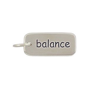 A312    -SV-CHRM Sterling Silver Word Charm - Balance