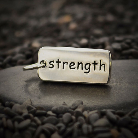 A315    -SV-CHRM Sterling Silver Word Charm - Strength